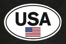 USA Euro Oval with Flag Sticker, Vintage Sports Car Racing Decal