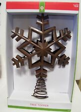 13 INCH TALL RUSTY METAL LOOK SNOWFLAKE TREE TOPPER CHRISTMAS DECORATION