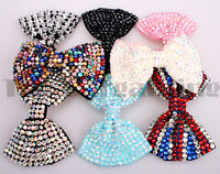 Girl Ladies Fashion Shining Brand New Diamante Crystal Bow Hair Clip Large Size