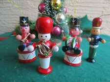 VINTAGE RARE LARGE 4  WOOD TOY SOLDIER MUSICAL CHRISTMAS ORNAMENTS