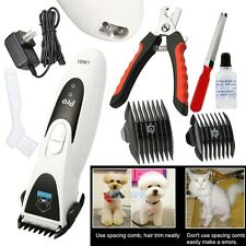 Pro Electric Pet Dog Cat Hair Trimmer Shaver Razor Grooming Clipper+Accessories