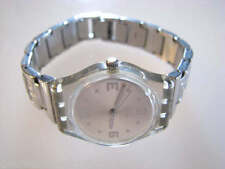 PATIENCE! Vintage Silver Ladies Swatch with Stainless Steel Fliplock Band!