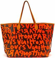 LOUIS VUITTON Auth Limited Edition Brown Monogram Graffiti Neverfull GM Tote Bag