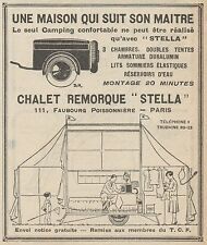 Z9018 Chalet Remorque STELLA -  Pubblicità d'epoca - 1928 Old advertising