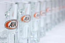 Ten (10) A & W Rootbeer Miniature Glass Mugs Four (4) Ounce Size Soda Advertiser