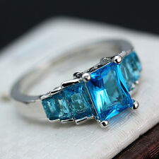 Fashion Size 9 Women Square Blue Topaz Silver Wedding Ring Cocktail Bridal Gift