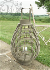 Lantern Garden Candle Holder Wooden Woven Grey Oval Rustic Outdoor New