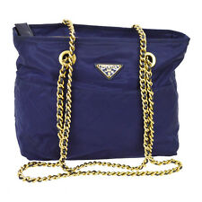 Auth PRADA Quilted Chain Shoulder Bag Navy Nylon Leather Italy Vintage YG00440