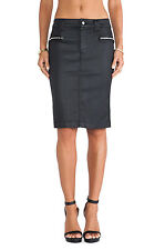 NWT 7 For All Mankind High Waist Pencil in Black Coat Jeather Zip Side Skirt 28