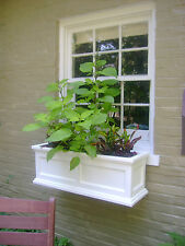 "44"" White Madison Flower Box Planter W/ Water Minder Feature & Mounting Brackets"