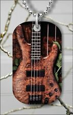 Music instrument wood bass guitar Dog tag necklace pendant free chain –haj4Z