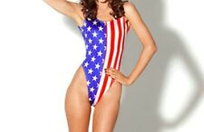 Free Size One-piece Summer Beach Bikini USA American Flag Backless Vest Swimsuit