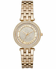 NEW in BOX $275 Michael Kors Mini Darci Watch Gold Tone Crystal Pave MK3445