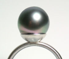 11mm AAA iridescent peacock Tahitian saltwater pearl & sterling silver ring 7/N