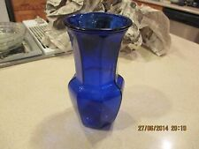 VINTAGE  COBALT BLUE GLASS LARGE SOLID OCTAGON GLASS FLOWER VASE 9.5'' HIGH