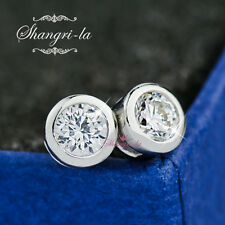 9K White GOLD GF Solitaire Round Stud EARRINGS 1.0CT SWAROVSKI DIAMOND S459 New