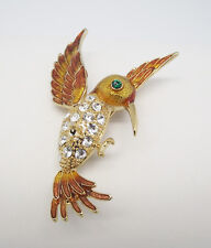 """ICON 2.75"""" CLEAR GREEN CRYSTAL GOLD ENAMEL HUMMINGBIRD GOLD PLATE PIN BROOCH NEW"""