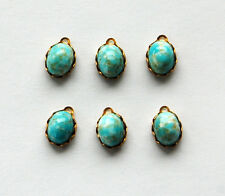 VINTAGE 6 HIGH DOME GLASS OVAL BEAD PENDANTS TURQUOISE MATRIX 8x10mm