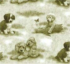 SPX DOG DAYS 22584 Olive Tonal Dogs  Cotton Fabric BTY - FREE US SHIPPING