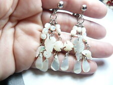 Vintage silver tone metal carved Mother of Pearl Fish Sea Horse Clip on earrings