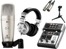 Behringer 302USB Mixer + HPX2000 Headphone + C-1 Condenser Mic & Stand PACKAGE
