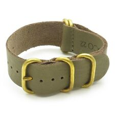 StrapsCo Green Leather Wrap Watch Band Strap w/ Solid Bronze Rings