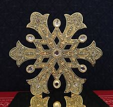 NIB Lenox Holiday Christmas SNOWFLAKE Stocking Holder Gold Heavy Metal