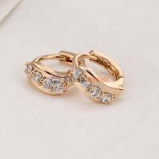 Attractive 18K Gold Plated Clear Crystal Zircon Fashion Women Ear Hoop Earring