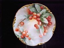 1908 JPL Limoges FRANCE HAND PAINTED CHERRIES CHERRY CHARGER PLATE GOLD EXCELLNT