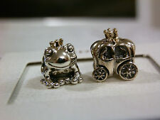 BNWB100% GENUINE PANDORA 14K ROYAL CHARM SET X 2 -FROG & CARRIAGE-791118/790598P