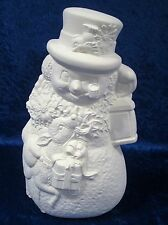 Ready to Paint Ceramic Bisque Snowman with Reindeer, unpainted; U-paint