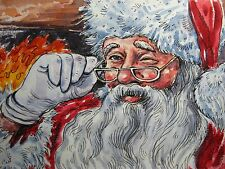 Watercolor Painting Santa Hat Glasses Christmas Fireplace Fire Art 5x7 inches