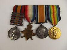 WW1 Medal Trio & Boer War QSA Sjt. A.R. Barrett Army Ordnance Corps