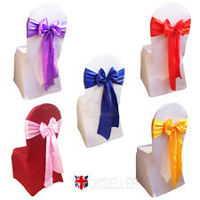 50Pcs 18x275cm Satin Chair Cover Sash Bows Wedding Banquet Party Reception Pink