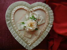 Antique Pink 1950s Fannie May Heart-Shaped Candy Box w/ lace, ribbon and flower