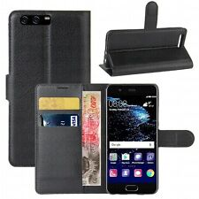Luxury Magnetic Flip Cover Stand Wallet Leather Case For HUAWEI P10 -BLACK