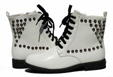 Womens Military Combat Round Toe Patent Leather Lace Up Studded Boot Shoes Ename