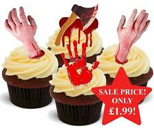 12 NOVELTY HALLOWEEN STAND UPS Bloody Horror Hand Axe Mix Edible Cake Toppers
