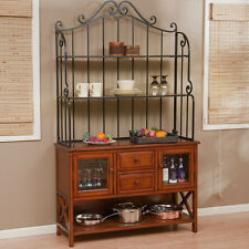 Baker Rack With Drawers Racks For Kitchens Storage Wrought Iron Top 47-Inch Oak