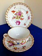 Antique Dresden Porcelain China Trio, Cup Saucer Plate  Dresden Flower Sprays