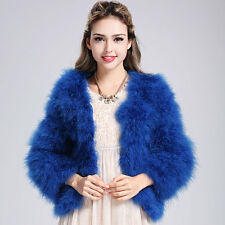 Hot Women Real Fur Ostrich Feather Fur Coat Jacket winter Fashion Luxury Outwear