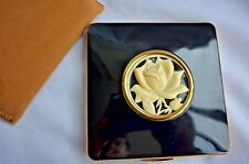 Mint Condition KIGU Square Black Enamel Ivory Rose Compact with Pouch Never Used