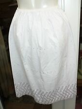BRAND NEW LADIES HALF SLIP ,SIZE 12/14,WHITE,EMBROIDERIE ANGLA DETAIL,STORE LINE