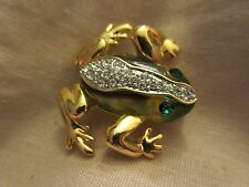 Gold Tone Rhinestone & Lucite Frog Pin Brooch