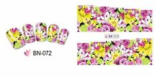 Nail Art Water Decals Stickers Transfers Wraps Spring Summer Flowers Floral BN72
