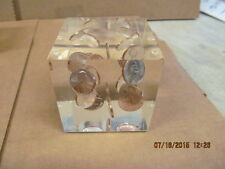 "Vintage Acrylic Lucite Paperweight  2.5"" Cube Penny Coins 1970 Sculpture Pop Art"