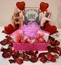 Gift Basket For Women Birthday Pink Spa Bath Body Lotion Soap Roses Chocolates