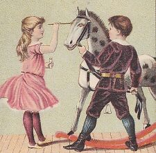 1880's Dr Thompsons Eye Water Cure Antique Toy Rocking Horse Advertising Card
