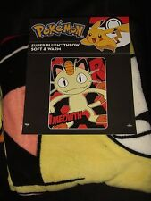 "Pokemon Meowth Cat Team Rocket Anime Nintendo 46""X60"" Plush Fleece Throw Blanket"