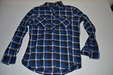 QUIKSILVER SURF NAVY BLUE BLACK PLAID SURFING POCKET SHIRT MENS SIZE SMALL S